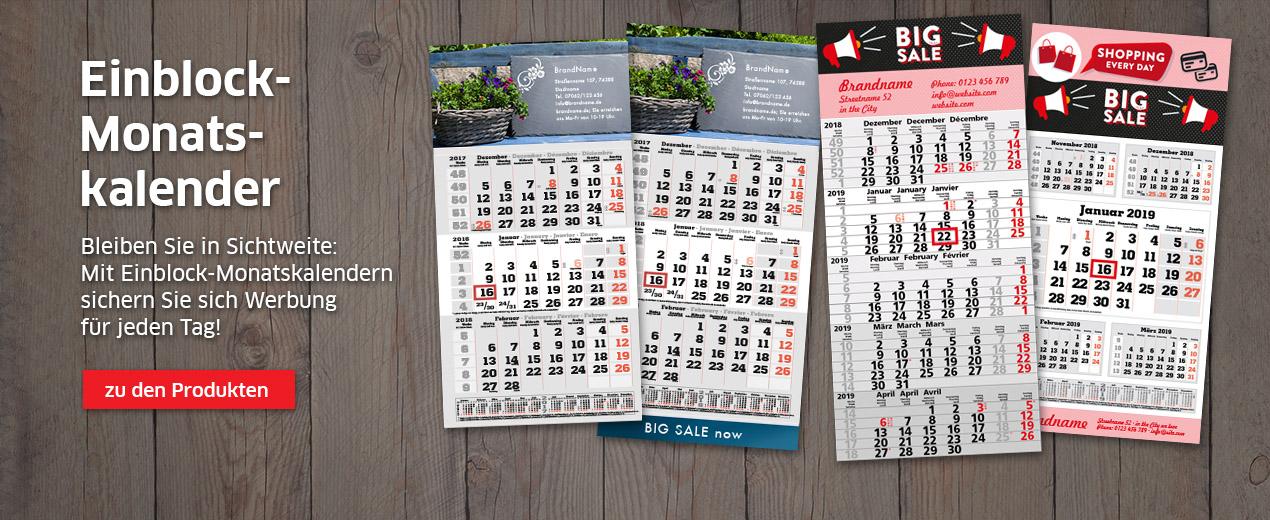 Einblock-Monatskalender für 2019 bestellen