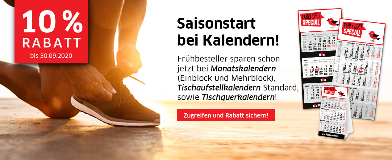 EARLY BIRD special bei Kalendern!