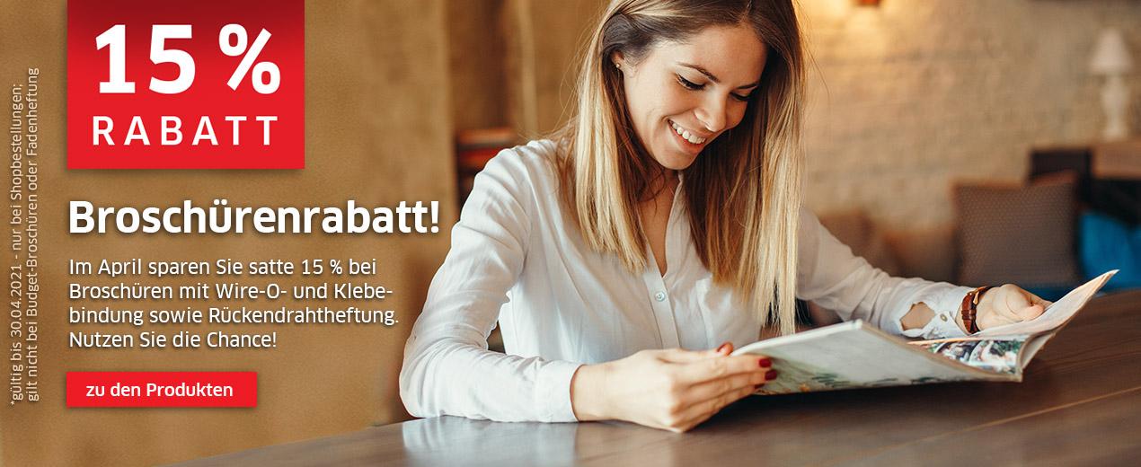 Sparen Sie im April satte 15 % bei Broschüren!